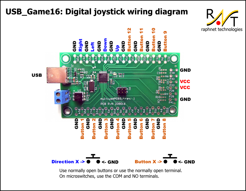 x arcade wiring diagram for usb raphnet technologies - usb game16: 4 direction inputs + 12 ... x arcade wiring diagram #1