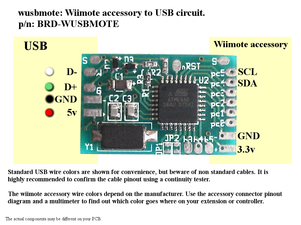 raphnet technologies - wusbmote: wiimote accessory to usb ... wii nunchuk wire diagram